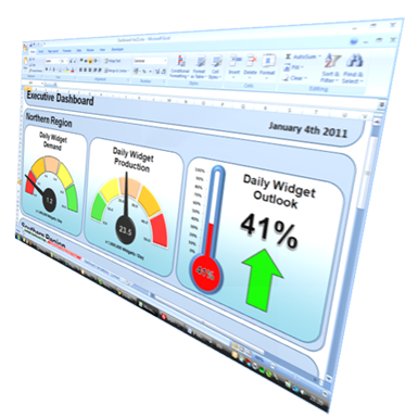 An example Excel dashboard made with our widgets